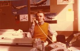 Leo op kantoor Hoogewerff Schiphol medio 1975 Scan10593