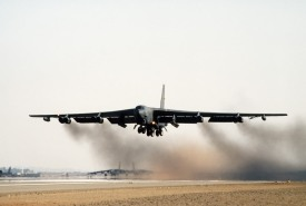 A B-52G Stratofortress bomber aircraft of the 1708th Bomb Wing takes off on a mission during Operation Desert Storm.